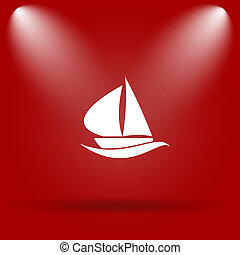 Sailboat icon Flat icon on red background