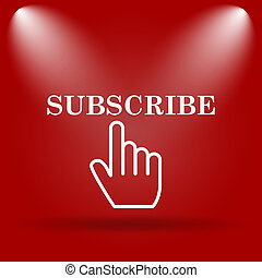 Subscribe icon Flat icon on red background