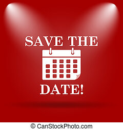 Save the date icon. Flat icon on red background.