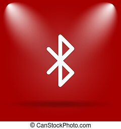 Bluetooth icon. Flat icon on red background.