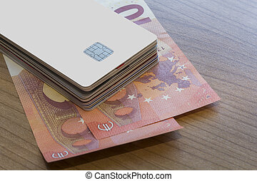 Batch of Credit or Debit Card on Euro Notes - A batch of...