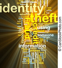 Identity theft wordcloud glowing - Word cloud tags concept...