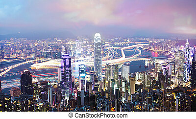 Hong Kong at night, long exposure - View of Victoria Harbour...