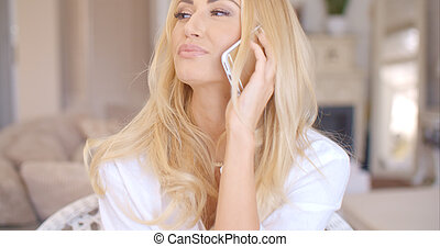 Happy Blond Female Calling at Phone Looking Left - Close up...