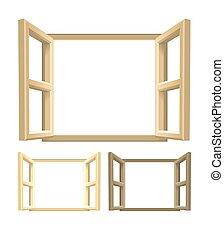 Open Wood Windows - A set of brown wooden windows. Lighter...