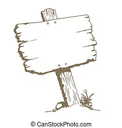 Blank Wood Sign - A drawing of an old wooden plank...