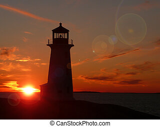 Peggy\'s Cove lighthouse with flare