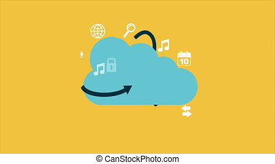 Cloud computing Video animation - Icons around the cloud...