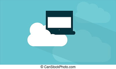 Cloud computing Video animation - Cloud and laptop Video...