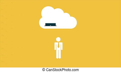 Cloud computing Video animation - Icon cloud computing Video...