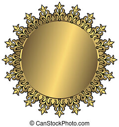 Vintage golden round frame with place for the text (vector)