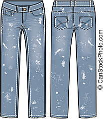 destroyed jeans illustration - lady fashion destroyed jeans...