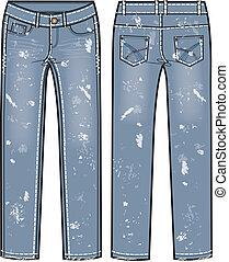 destroyed jeans illustration