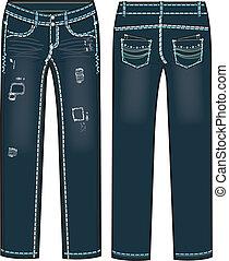 destroyed jeans illustration - lady fashion destroyed jeans...
