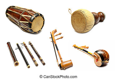 jogo, de, tradicional, Tailandês, musical, Instrumentos,