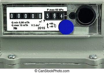 New Outdoor Gas Meter Isolated On White Background. Used in...