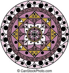 Mandala lavender - Drawing of a lilac mandala in geometric...