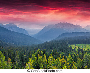 Dramatic summer sunrise in the italian Alps, Vigo Di Cadore,...