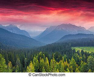 Dramatic summer sunrise in the italian Alps, Vigo Di Cadore,...