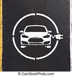 Electric Eco Car Icon - Electric Eco Car Charging Station...