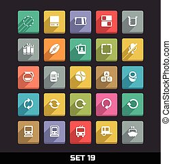 Icons With Long Shadow Set 19 - Trendy Vector Icons With...