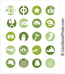 23 February, icon set, defenders