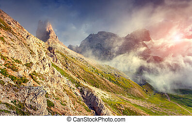 sunrise in the National Park Tre Cime di Lavaredo - Colorful...