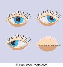 vector cartoon eyes, closed eyes, - vector cartoon eyes,...