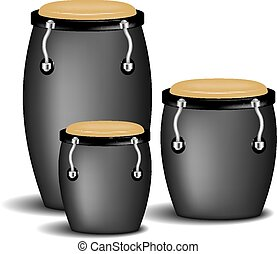 Congas band in black design with shadow on white background