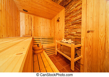 Sauna - Interior of small home Finnish wooden sauna