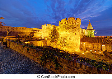 Belgrade fortress at night, Belgrade Serbia
