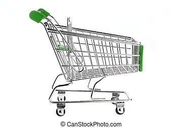 Green Shopping Cart Isolated On White - A Shopping Cart With...