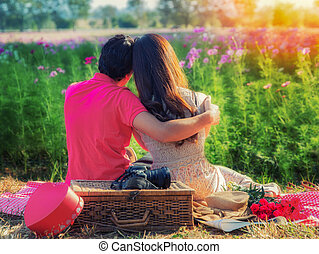 Young couple in love, Attractive man and woman enjoying...
