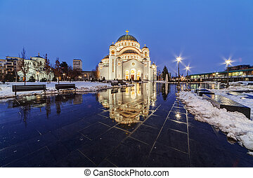 Saint Sava Temple - Saint Sava temple at night, Belgrade...