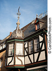 Timber framing house - Detail of timber framing house in...