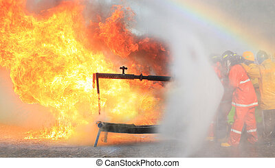 Fire Fighter  on training. Fire fighting.