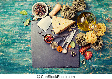 Ingredients for cooking Italian pasta - Ingredients for...