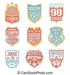 Soccer emblems in flat style Color print
