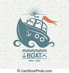Brave small boat - Illustration of a small boat in flat...