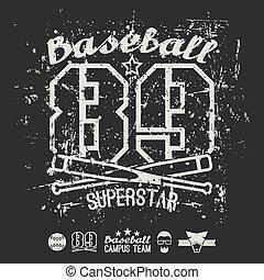 Emblem baseball superstar college team. Graphic design for...