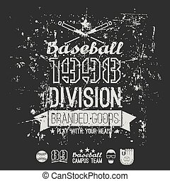 Retro emblem baseball division of college - Retro vintage...