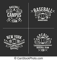 Baseball team emblems - Set of white emblems baseball team...