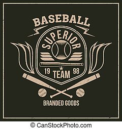 College baseball team emblem graphic design for t-shirt....