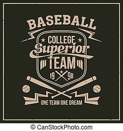 College baseball team emblem graphic design for t-shirt...
