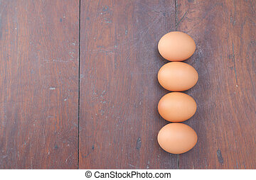 eggs, wood background.