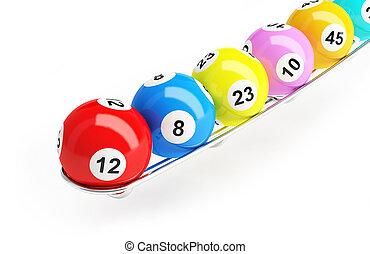 Bingo, loteria, Bolas, ligado, Um, branca, fundo,