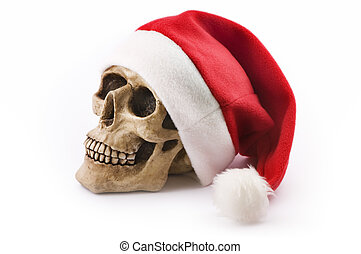 skull with red christmas hat - skull with red christmas hat...