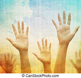 Raising hands - Raising hands against vintage blue sky...