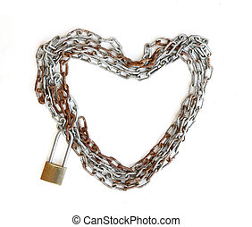 Chain heart shape with master key lock on wood background
