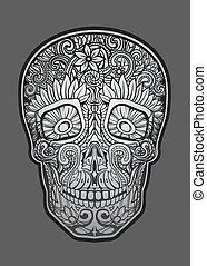 human skull made of flowers, vector illustration